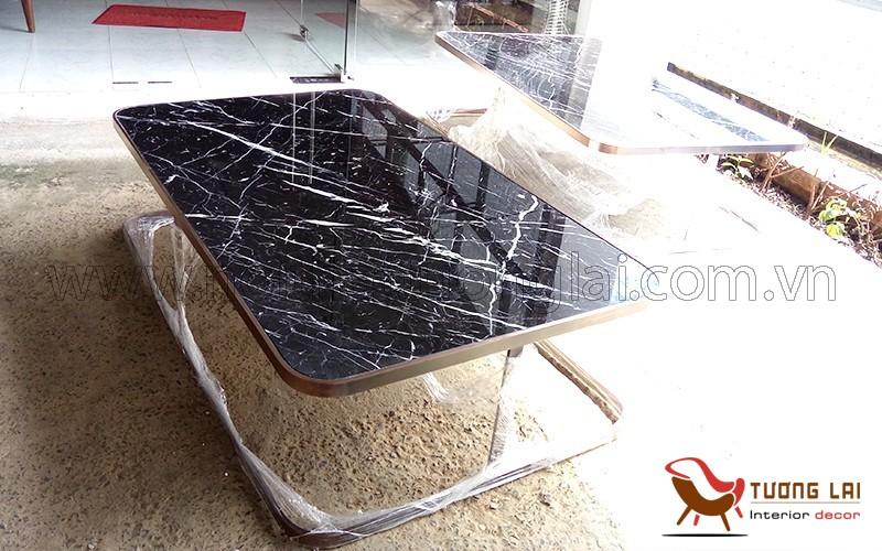 Gia công bàn sofa si đồng cổ đá marbel