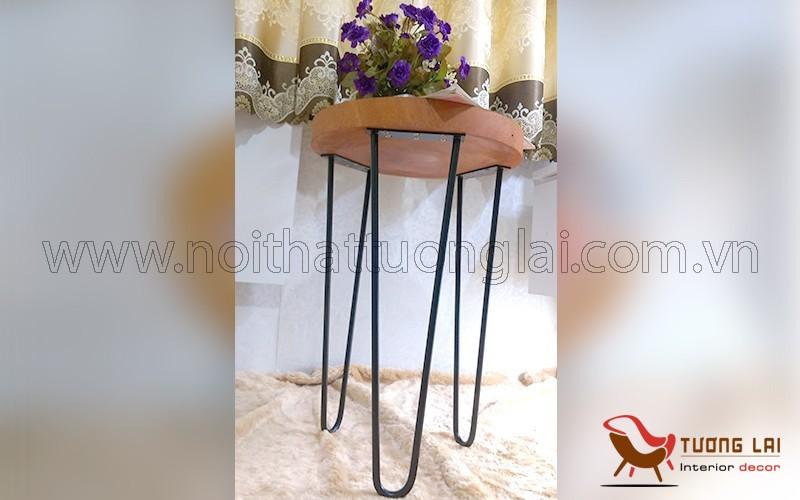 Gia công bàn cafe mặt gỗ chân sắt