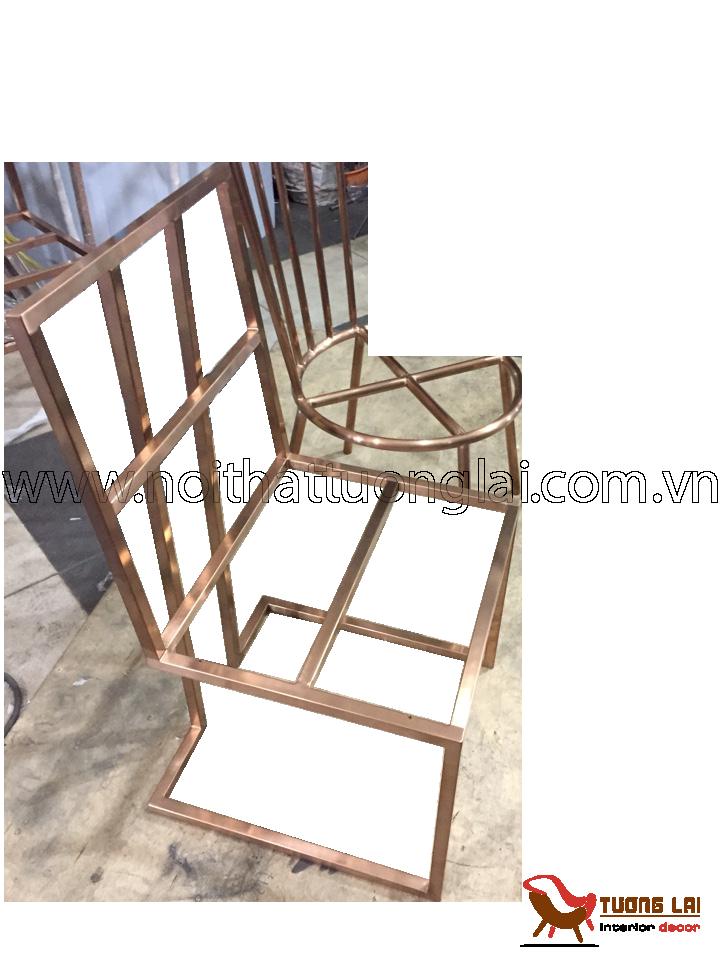 Gia công chân ghế vuông inox mạ đồng cổ
