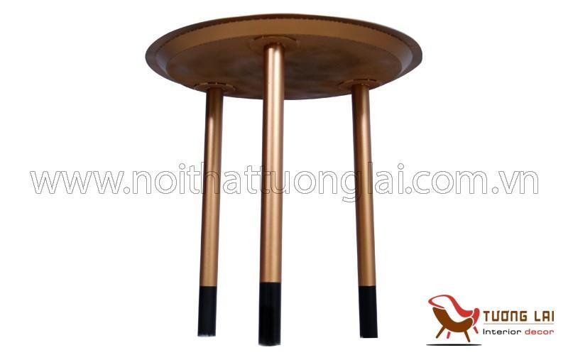 Gia công sắt inox - Bàn sắt mâm tròn giả cổ màu đồng đỏ